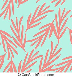 Seamless random pattern with doodle pink simple rosemary branches ornament. Blue background.