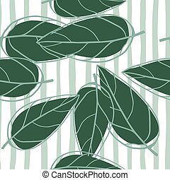 Seamless random pattern with leaves outline silhouettes. Green foliage shapes different sized on stripped background with white and blue lines.