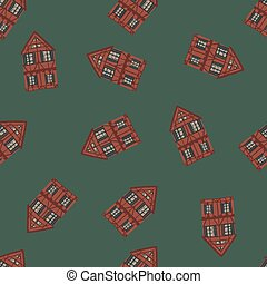 Seamless random pattern with maroon house building silhouette. Dark green background.