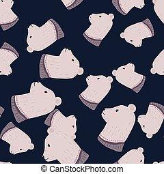 Seamless random pattern with pale grey doodle bear hear profile ornament. Dark navy blue background.