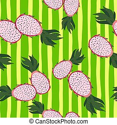 Seamless random pattern with pink dragon fruits ornament. Green bright striped background.