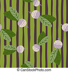 Seamless random pattern with radish simple silhouettes. Green and purple stripped background.