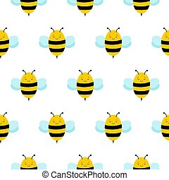 Seamless Repeat Pattern with Cute Cartoon Flying Bumble Bees Background