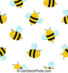 Seamless Repeat Pattern with Cute Flying Bumble Bees Background