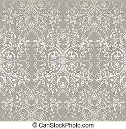 Seamless silver lace floral pattern