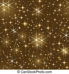 description: Seamlessly tiling pattern of golden shiny stars on dark background. Use of linear gradients, global color swatches.