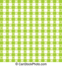 Seamless pattern, bright lime green and white gingham check tablecloth. EPS8 file includes pattern swatch that will seamlessly fill any shape. For picnics, restaurants, cafes, bistros, home decorating, arts, crafts, scrapbooks and albums.