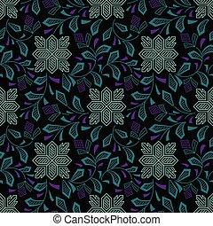 Seamless textile floral pattern on dark background