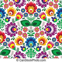 Repetitive colorful background - polish folk art pattern