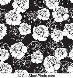 Seamless vector dark floral pattern