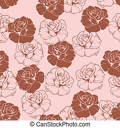 Seamless vector floral pink pattern