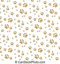 Seamless vector pattern with cartoon bones and paws on brown background.