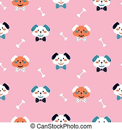 Seamless vector pattern with cute puppies on a pink background.