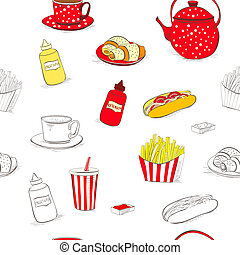 Seamless wallpaper with a lot of food