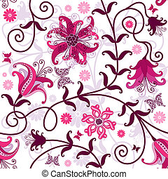 Seamless floral pattern with pink and purple flowers and butterflies (vector)