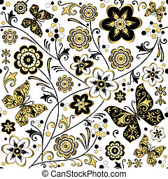 Seamless white floral pattern (vector)