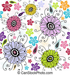 Seamless white floral pattern with red, violet, yellow and blue flowers (vector)