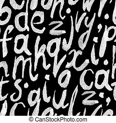 Seamless white paint hand-drawn alphabet on blackboard pattern