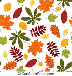Vector seamless with autumn many-colored leaves. Cartoon style.