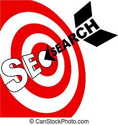Search engine optimization arrow hits SEO target