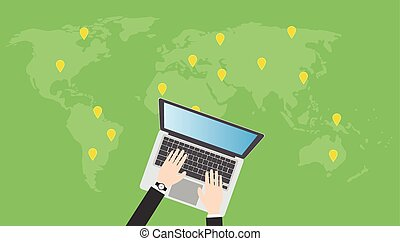 search or find online places use laptop notebook get gps location
