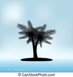 seascape in a sunny summer day with a silhouette of palm trees