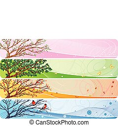 4in1 vector banner with seasonal theme.
