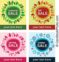 Four seasonal sale poster with floral frame