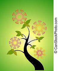 seasonal tree and flower
