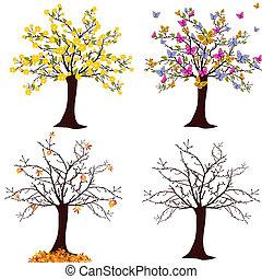 vector illustration of different trees - spring, summer, autumn, winter