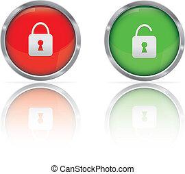 Web Button Locked and Unlocked. Vector illustration