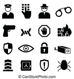 Safety, security and crime icon set