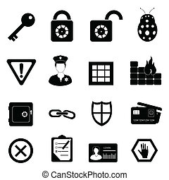Security and safety related icon set