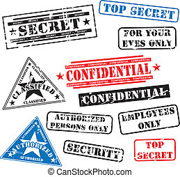 Various security rubber stamps (top secret, confidental etc.)