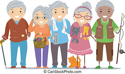 Illustration of Stickman Senior Citizens