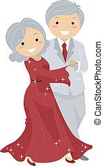Illustration of Stickman Senior Couple Ballroon Dancing