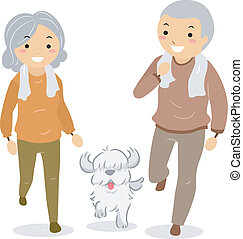 Illustration of Stickman Senior Couple Walking their Dog
