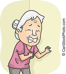Illustration Featuring an Elderly Female Having a Heart Attack