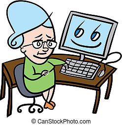 Cartoon illustration of a nervous senior lady who is about to use a computer for the first time