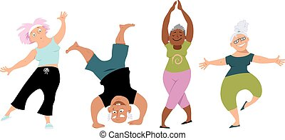 Senior people doing yoga, EPS 8 vector cartoon characters, isolated on white