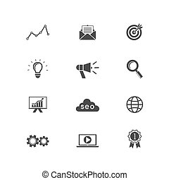 Vector SEO Set, Search engine optimization icons for web and apps