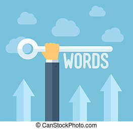 Flat design style modern vector illustration concept of search engine optimization, selecting relevant keywords for success SEO, optimize website for traffic growth and rank result. Isolated on stylish color background