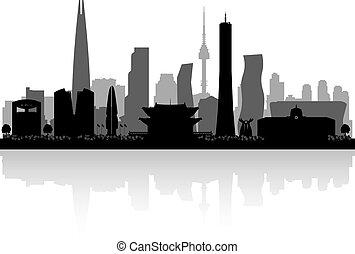 Seoul South Korea city skyline vector silhouette illustration