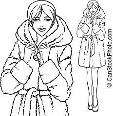 Elegant beautiful woman wears winter clothes, fur coat. Vector monochrome hand drawing.