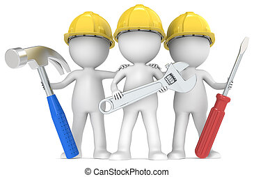 3D little human character The Builders X3 with Tools. Color edition. People series.