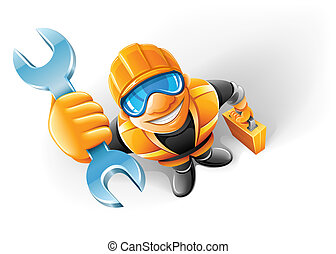 service man worker with key in the arm vector illustration, isolated on white background