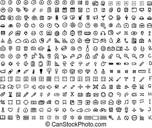 Set of 320 hand-drawn icons. Many icons painted marker.