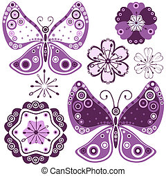 Collection abstract flowers and butterflies for design on white (vector)