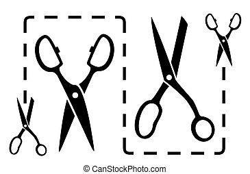 set black dotted line with scissors cut