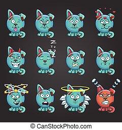 Set cartoon dog with emotions
